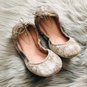Silver velvet ballerina flats